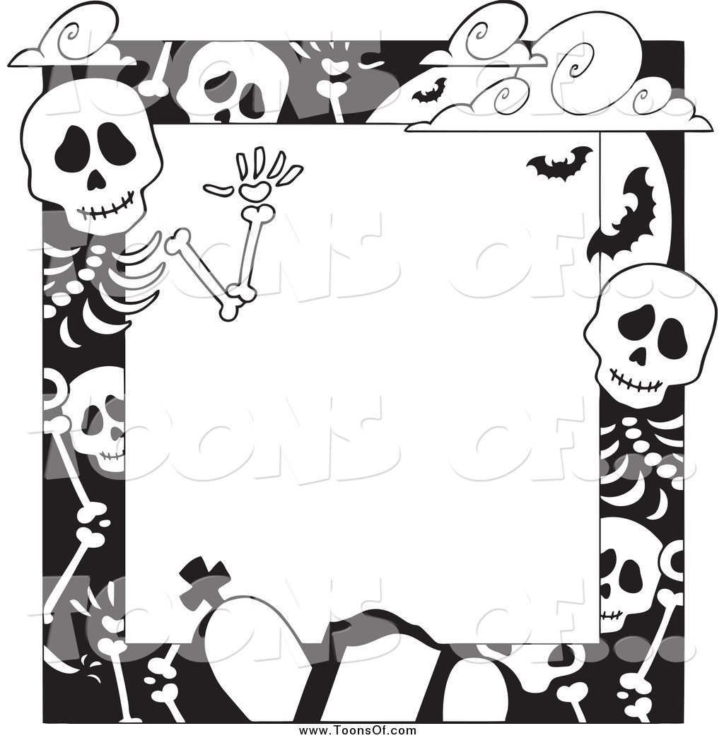 Sleleton clipart border And White of and White