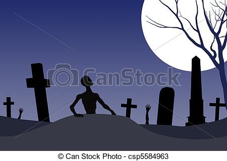 Zombie clipart graveyard Graveyard Illustration Halloween Drawings