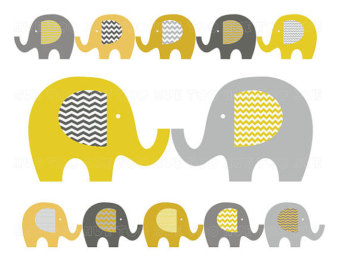 Yellow clipart baby elephant Clip art elephant stripe clipart