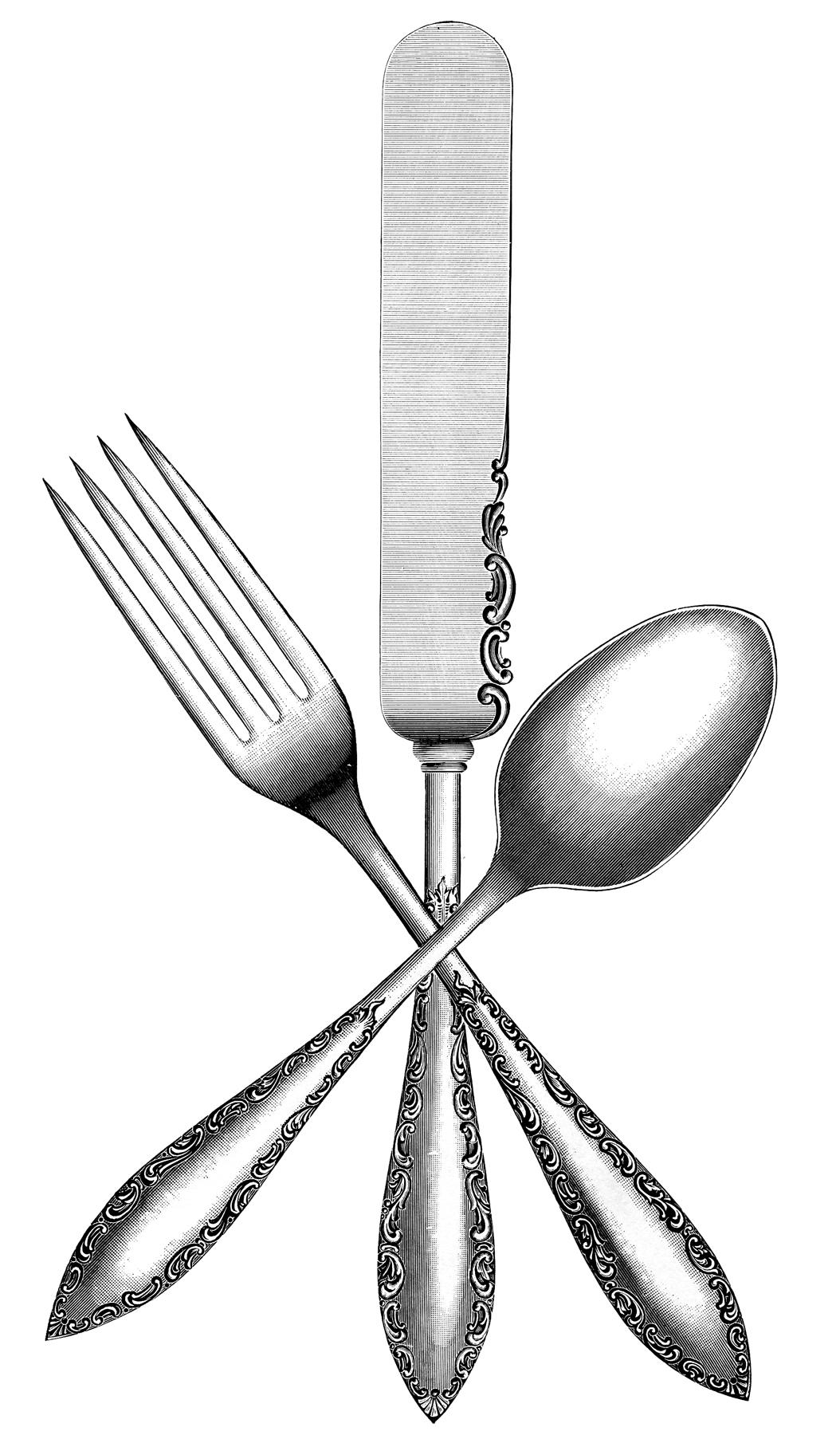 Cutlery clipart silverware Image Graphics Silverware Vintage Vintage