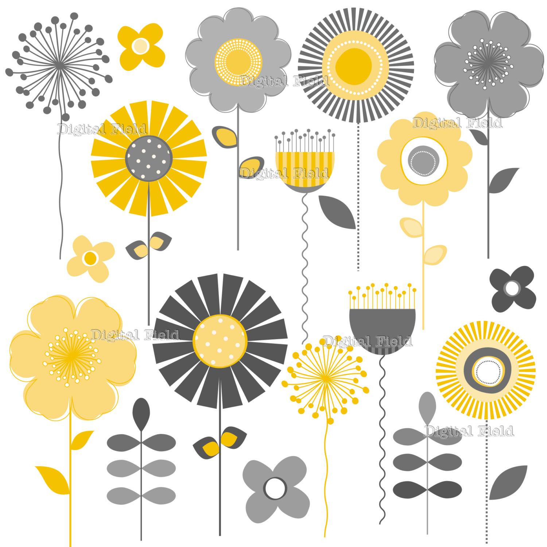 Yellow Flower clipart printable Printable Mod digital  and