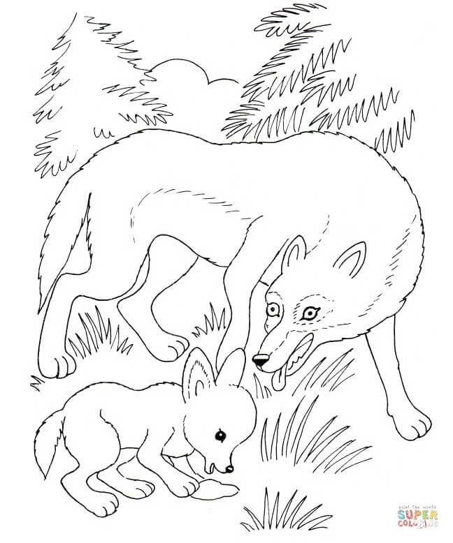 Arctic Wolf clipart wolf cub Coloring Cub and Wolf Mother