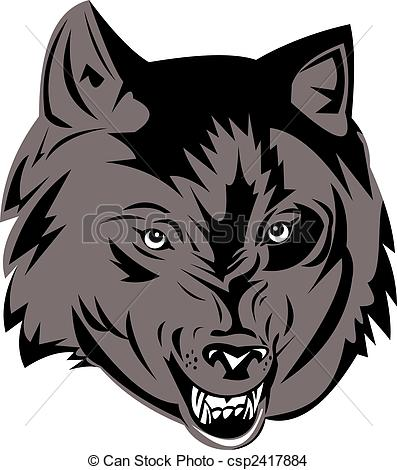 Wolf clipart vector  Drawing gray csp2417884 head
