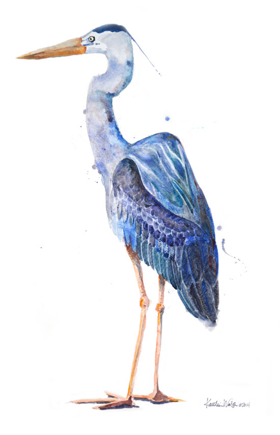 Great Blue Heron clipart Great blue Print Blue Art