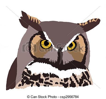 Horned Owl clipart Drawing csp2956784 of virginianus Bubo