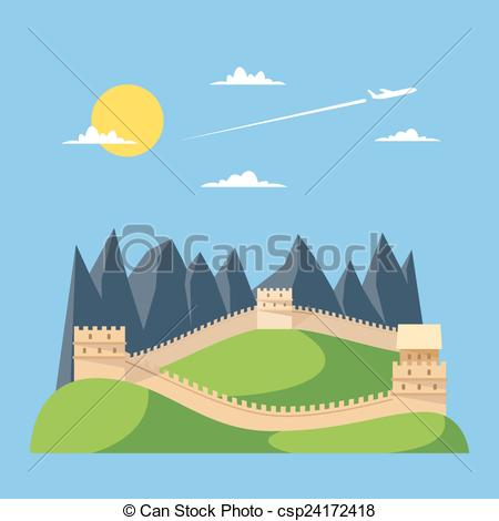 Great Wall Of China clipart The Great Wall Of China Drawing Steps Of csp24172418 design great design