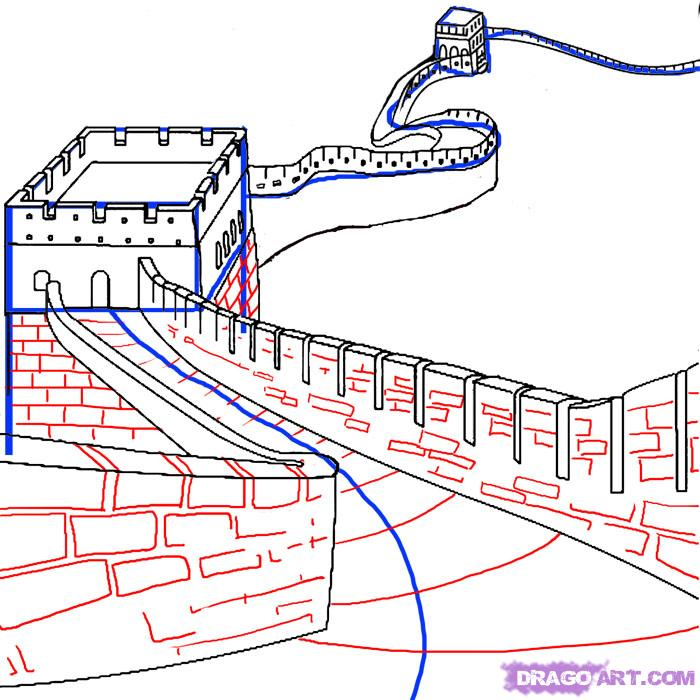 Great Wall Of China clipart The Great Wall Of China Drawing Steps How of to Art draw