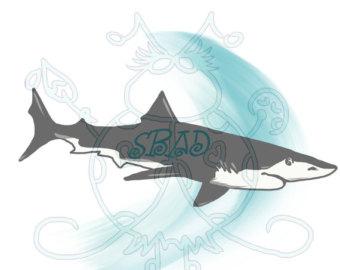 Tiger Shark clipart hand drawn #7