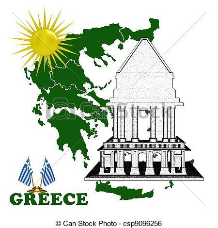 Greece clipart greece map Map sun  Stock Map