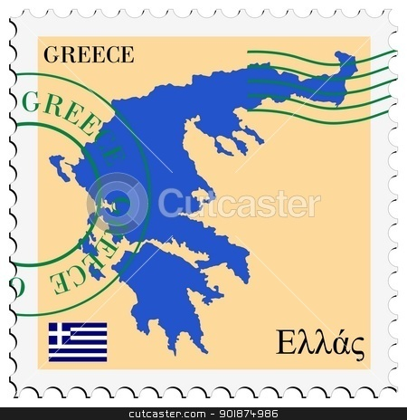 Greece clipart greece map Stock stamp of with flag