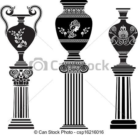 Greece clipart greek vase Vase Greek Clip column set