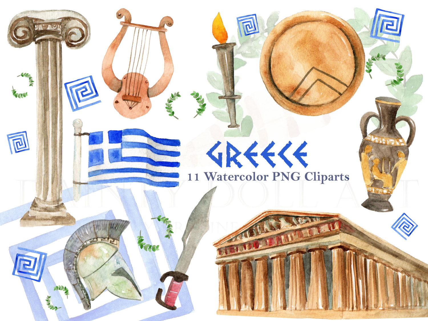 Greece clipart sparta Download Greece digital Greek Watercolor