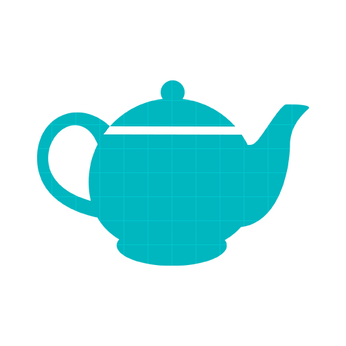 Teacup clipart outline Teapot and green Clipartix Pink