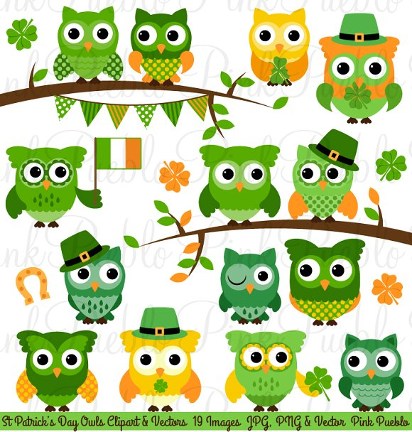 Green Day clipart owl ~ St Day  Clipart