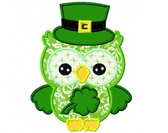 Green Day clipart owl Day Embroidery Applique 5x5 patricks