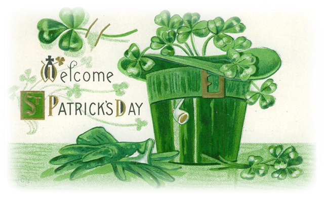 Birthday clipart st patrick's day Gloves shamrocks vintage hat and