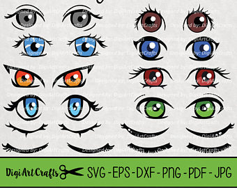 Anime clipart eye mouth Collection/ eye clip set/ Japanese