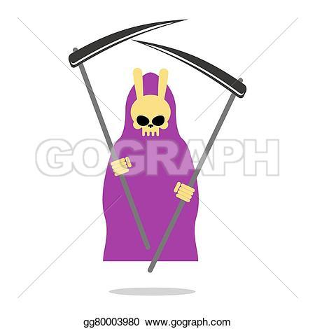 Drawn scythe purple Bunny cloak Vector grim and