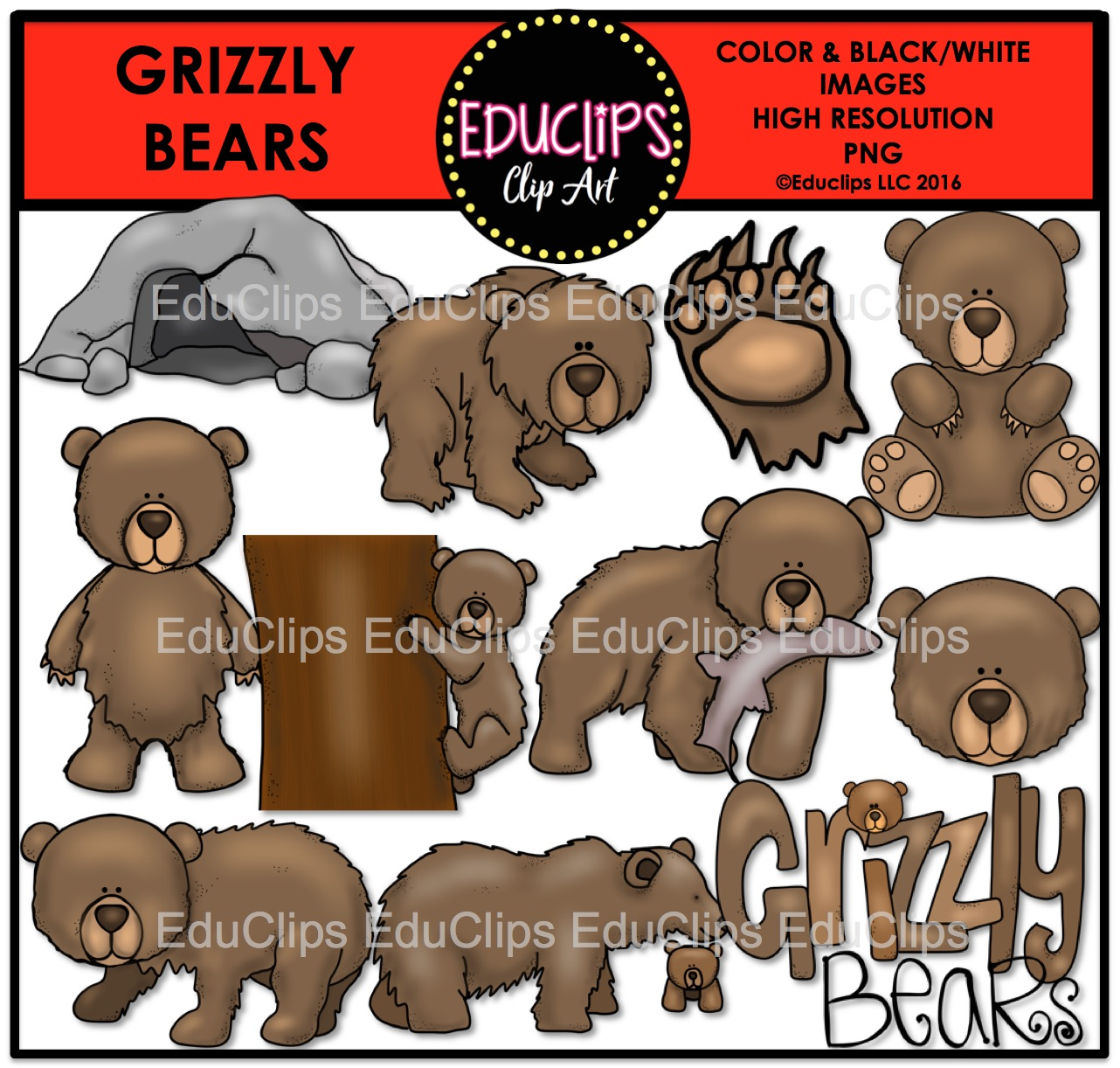 Grizzly Bear clipart brown color Clip to Grizzly and Bears