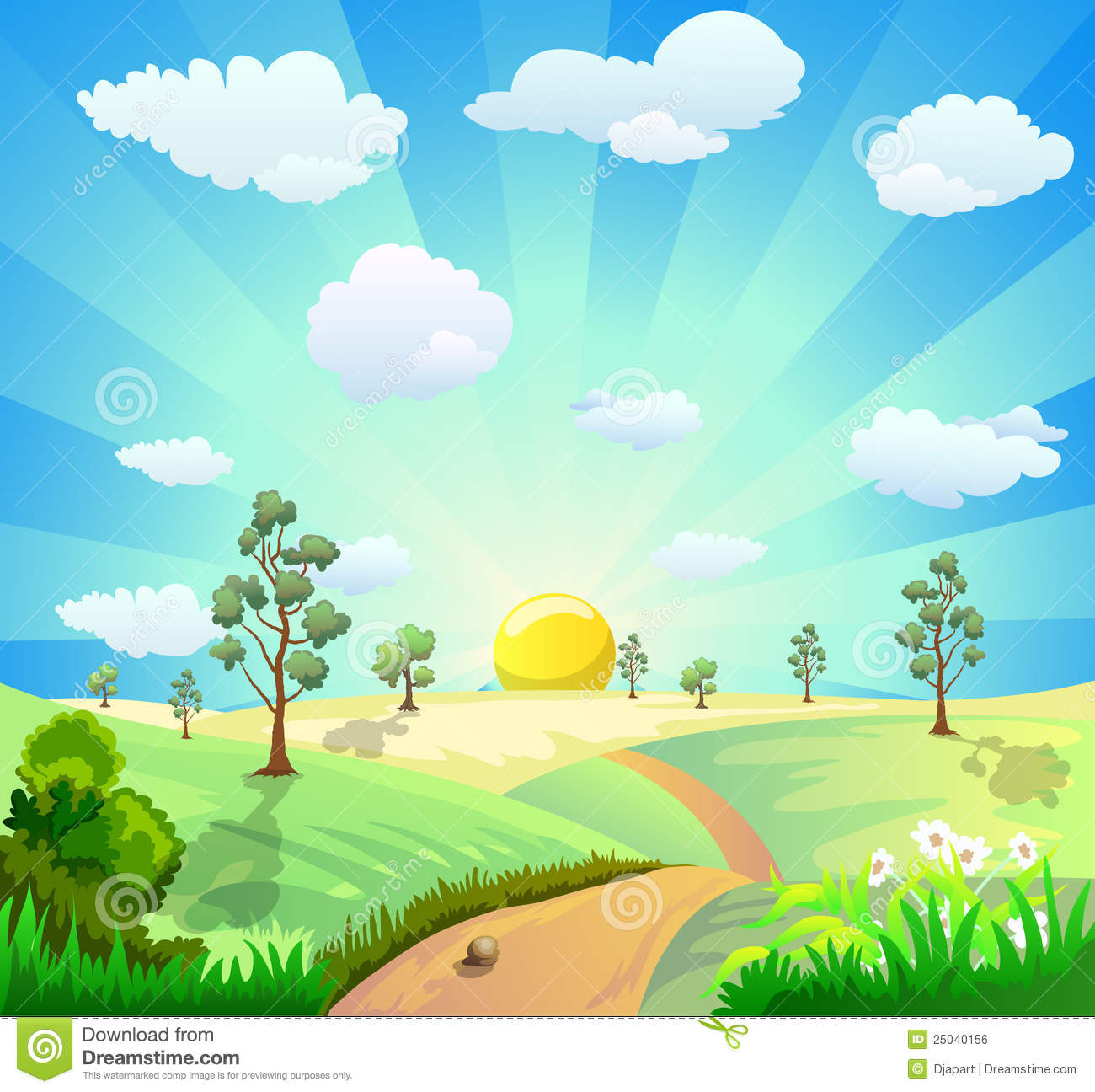 Country clipart garden background Image Landscape  Cartoon Free
