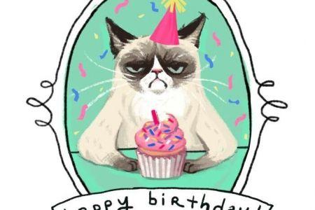 Birthday clipart cat Birthday art hello clip happy