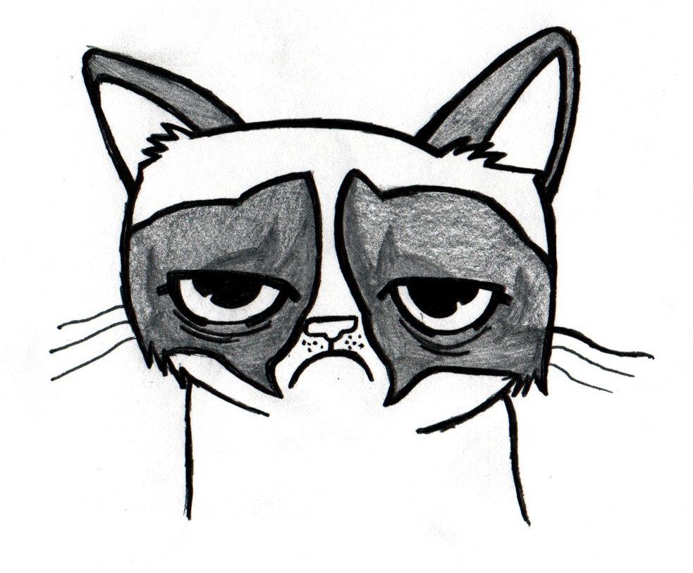 Grumpy Cat clipart easy cat Cat on Cat Drawing Drawing