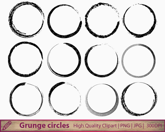 Grundge clipart circle Frame scrapbooking 300dpi clip