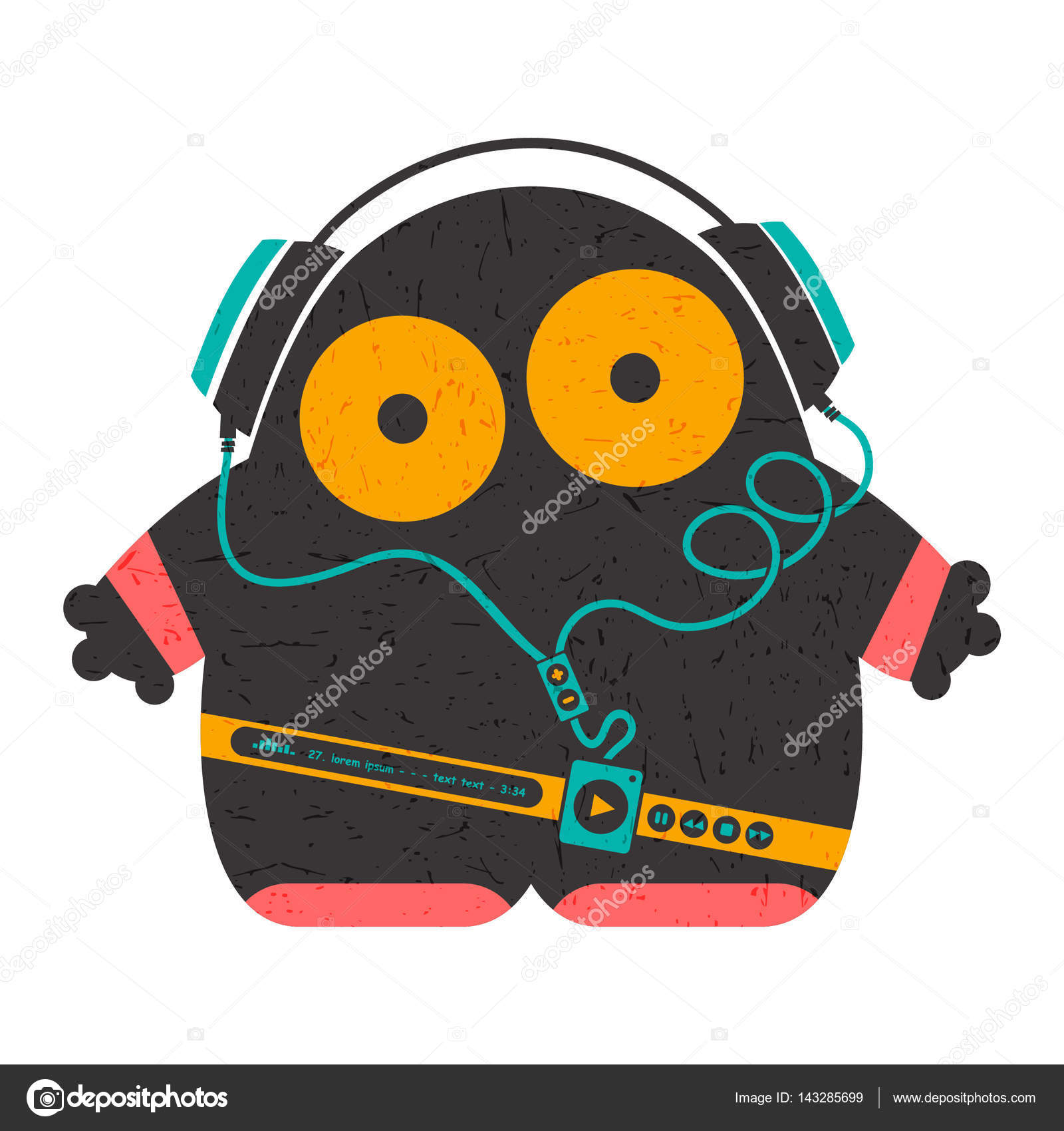 Grundge clipart escuchar De de música con Divertidos