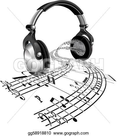 Headphone clipart music heart Form of Art Vector sheet