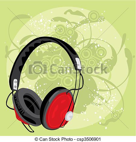 Grundge clipart phone headset With vector earphone of grunge
