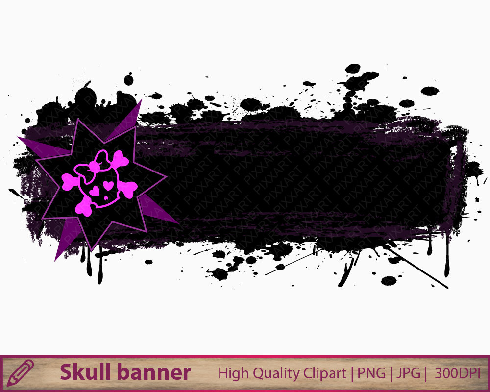 Grundge clipart skull Scrapbooking banner Skull download art