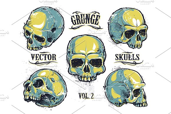 Grundge clipart skull Illustrations ~ Skulls on Grunge