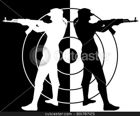 Gun Shot clipart black and white Assault shooter stock Kalashnikov rifle