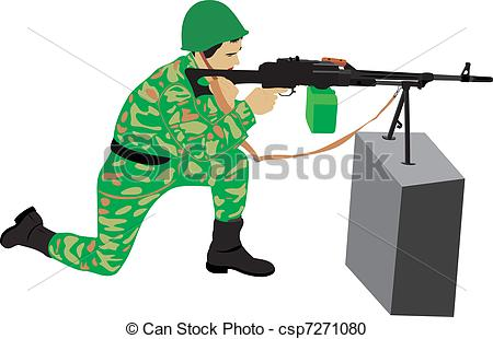 Soldier clipart shooting gun A a  machine soldier