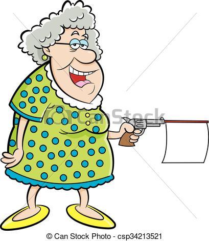 Gun Shot clipart old gun Old Gun Cartoon Lady Old
