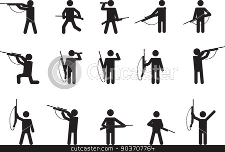 Gun Shot clipart pictogram With people guns vector Pictogram
