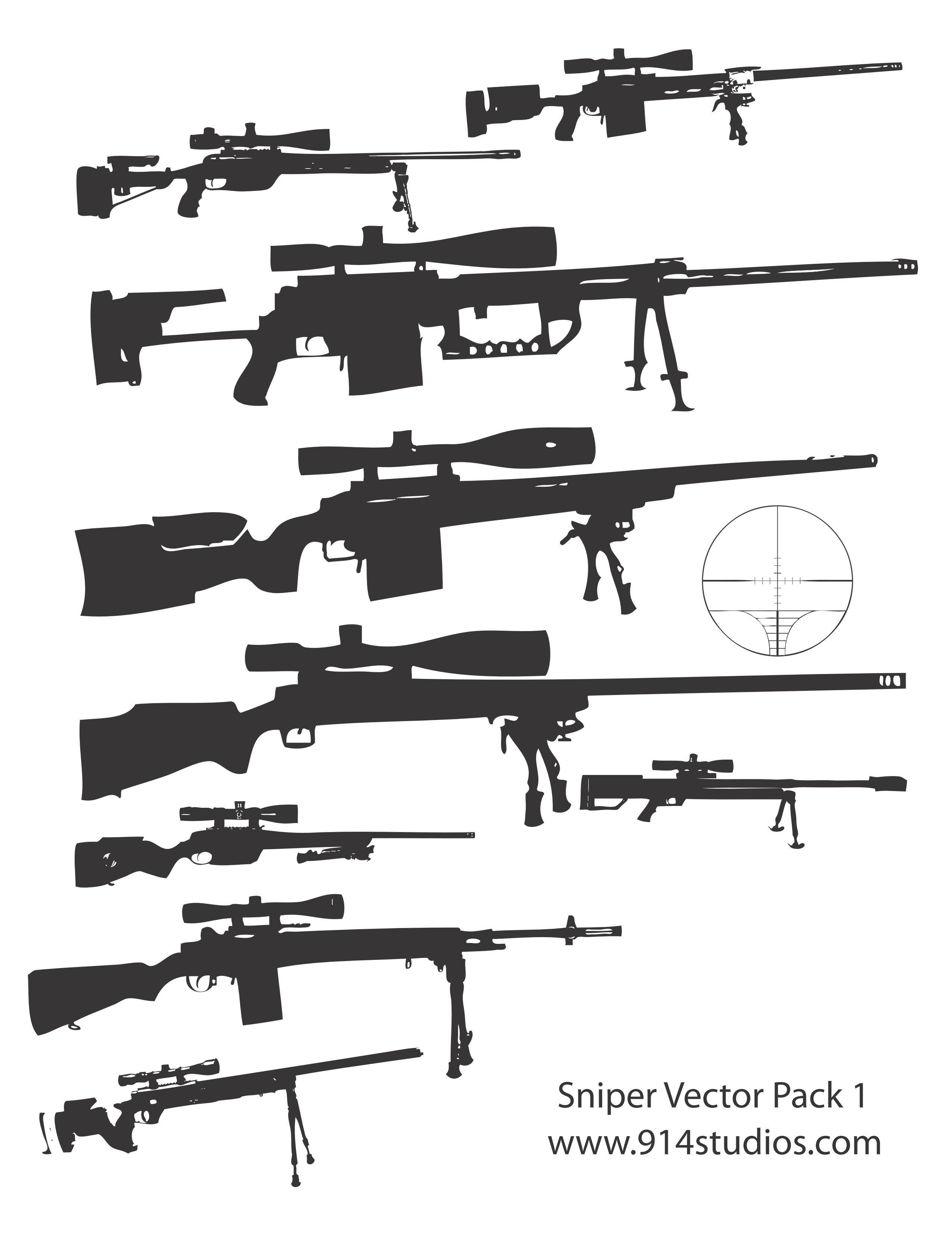 Drawn snipers uzi Gun Vector Guns Pack Sniper