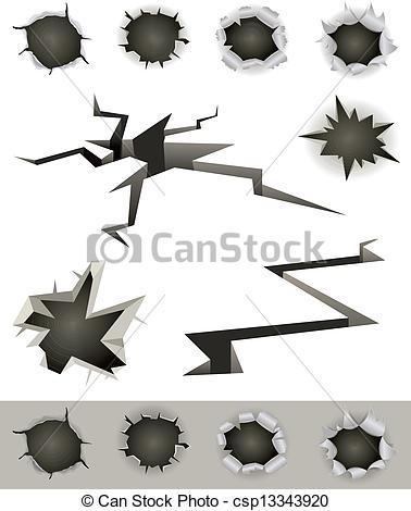 Gun Shot clipart vector art Gunshot bullet And set of