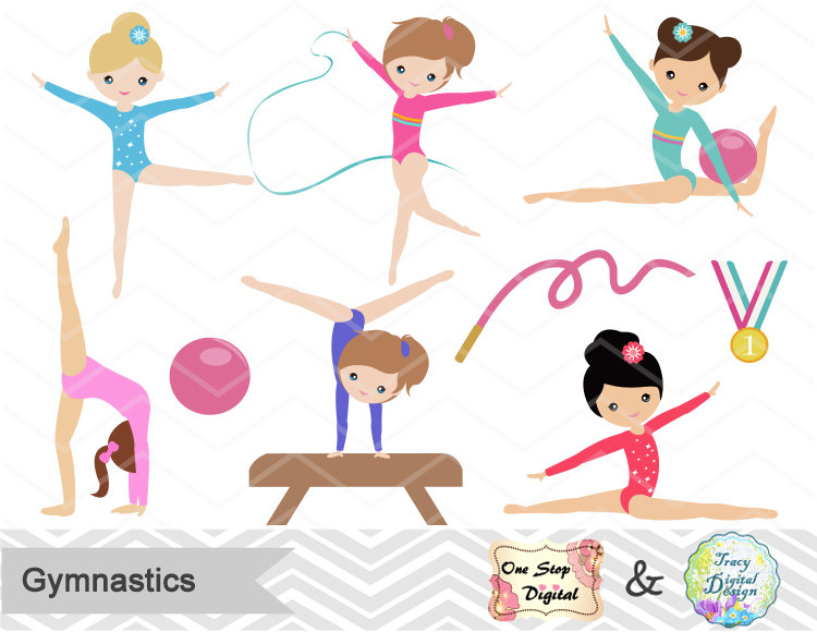 Child clipart banner Girls Etsy Art art Gymnastics