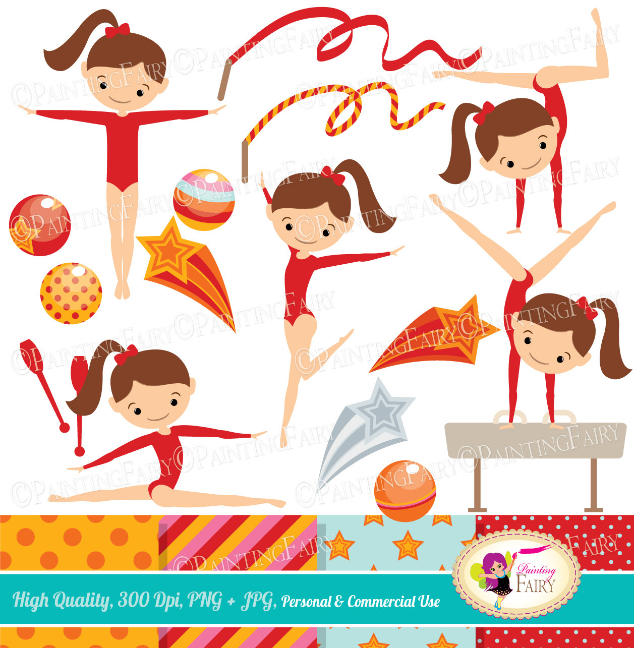 Gymnast clipart artistic gymnastics Red Clip Cute girls Sport