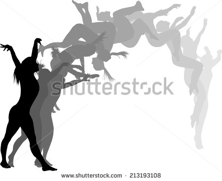 Gymnast clipart back tuck Flipping cliparts Clipart Silhouette Girl