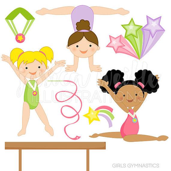 Gymnast clipart child gymnastics Personal Cute Digital Gymnastics and