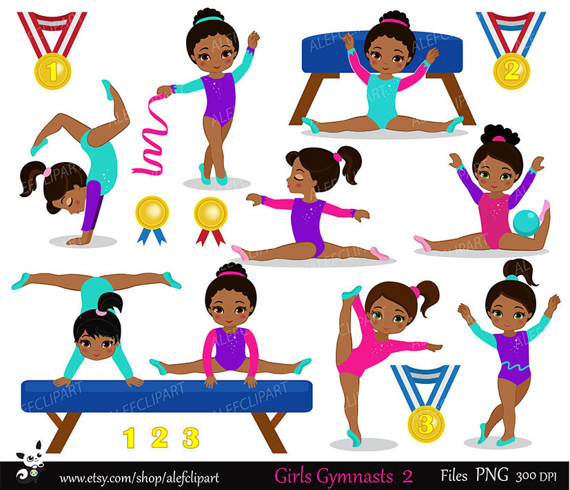 Gymnast clipart children's Clipart Set american African Multicultural