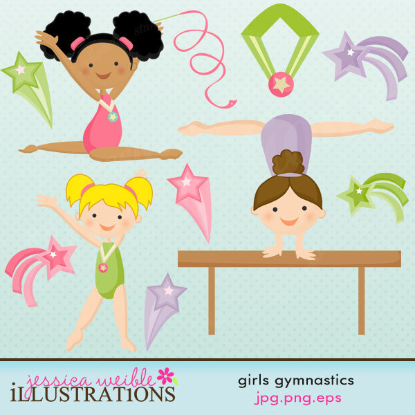 Gymnast clipart cute And art Digital Commercial Graphics
