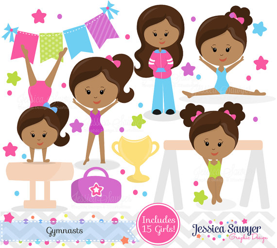 Gymnast clipart cute INSTANT Clipart Gymnastics Skin for