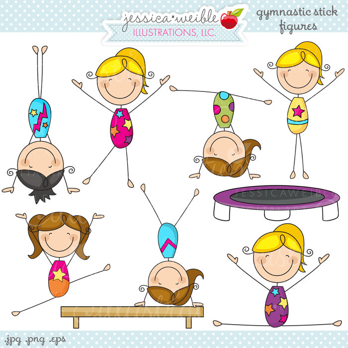 Gymnast clipart cute Commercial Figures Gymnastics Stick Digital