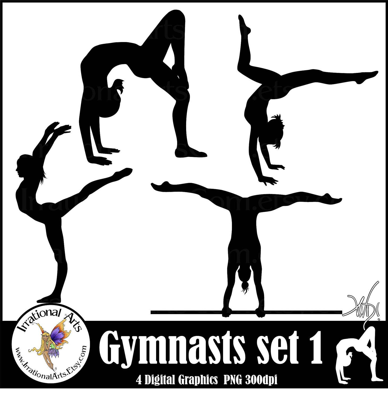 Gymnast clipart gymnastics moves [  gymnast 8 sets