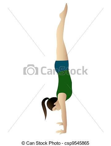 Gymnast clipart handstand Csp9545865 yoga Young practicing of