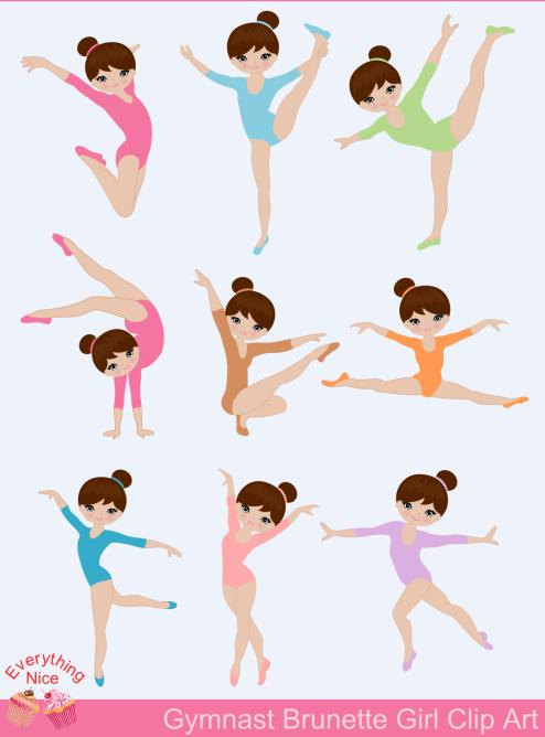 Gymnast clipart kid gymnastics Girl Light Gymnast Brown Gymnast
