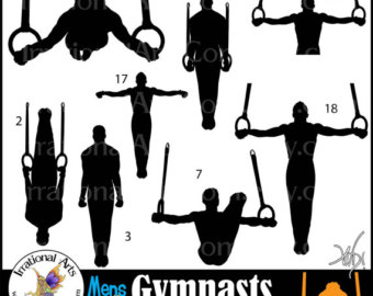 Ring clipart men's gymnastics Set graphics Silhouettes gymnast Male